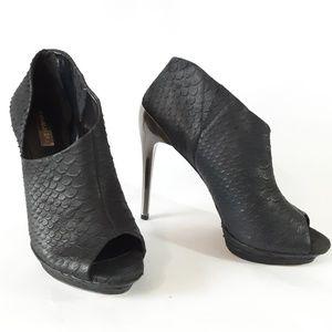 BCBG Peep toe Booties Silver Heel Black leather